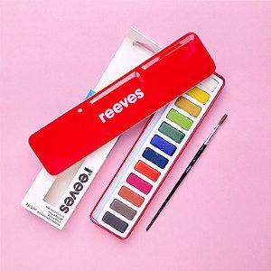 Aquarela Reeves 12 cores em pastilha (nível iniciante)