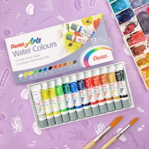 Aquarela Pentel 12 cores em bisnaga