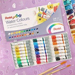 Aquarela Pentel 24 cores em bisnaga