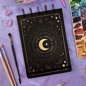 Sketchbook Fases da Lua - Papel preto 180g
