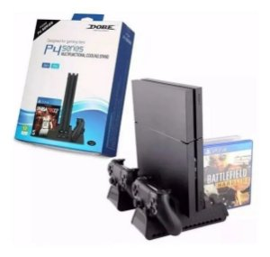 Suporte Base Vertical Cooler E Carregador Ps4 Pro Slim