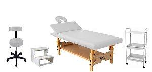 Kit Estética Branco com Maca Fixa Reclinável, Escada, Carrinho e Mocho