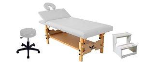 Kit Estética Branco com Maca Fixa Reclinável, Escada e Mocho