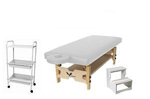 Kit Estética Branco com Maca Fixa, Escada e Carrinho