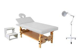 Kit Estética Branco com Maca Fixa Reclinável, Escada e Lupa Led Tripé