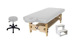 Kit Estética Branco com Maca Fixa, Escada e Mocho