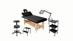 Kit Para Estética Preto 5 Itens Maca Fixa Reclinável Carrinho Escada de Metal Mocho Lupa LED