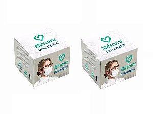 Kit Com 50 Máscaras Descartáveis Para Proteção Facial