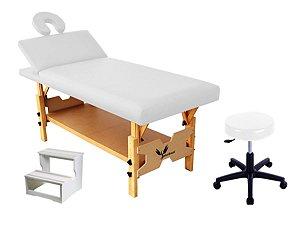 Kit Para Estética 3 Itens Maca Fixa Reclinável Escada de Madeira Mocho