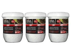 Kit Com 3 Cremes Pimenta Negra Nova Fórmula D'agua Natural