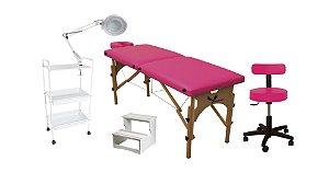 Kit Para Estética Rosa 5 Itens Maca Portátil Escada Carrinho Mocho Lupa LED