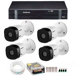 Kit Intelbras, 4 Câmeras HD 720p VHL1120 B + MHDX 1104  + HD 1 Tera + Cabo