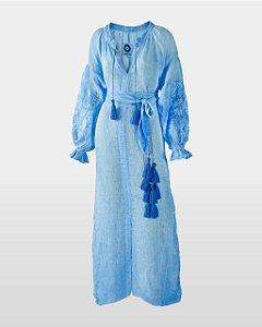 Gaze de Linho Azul