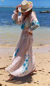 Vestido Gaze de Linho Rosé