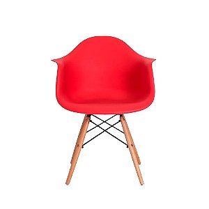 Cadeira Charles Eames Wood Design Vermelha Com Braço