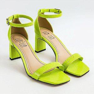 Sandália Verde Siciliano Chita Salto Quadrado