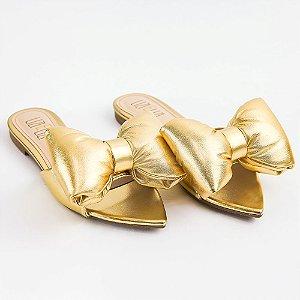 Rasteira Ouro Laço Bico Folha