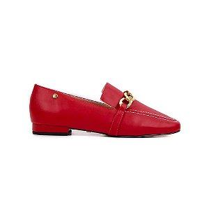Mocassim Vermelho Scarlet Com Corrente Ouro