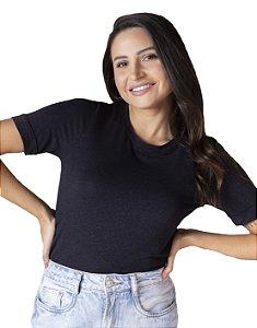 T-Shirt Viscolinho Decote Careca Lavanda Preta