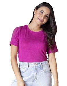 T-Shirt Viscolinho Decote Careca Lavanda Rosa Orquídea