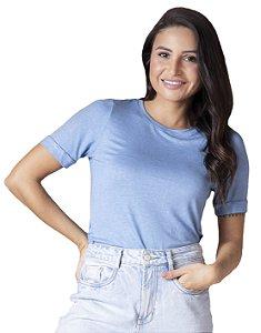 T-Shirt Viscolinho Decote Careca Lavanda Azul Celeste