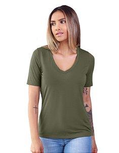 T-Shirt Modal Decote V Dente de Leão Verde Avocado