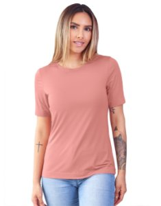 T-Shirt Modal Gola Careca Magnolia Rosa Blush
