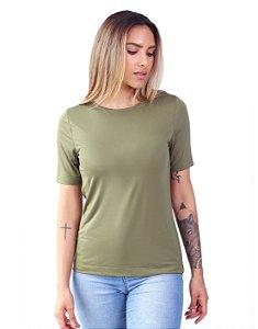 T-Shirt Modal Gola Careca Magnolia Verde Avocado