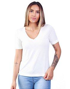 T-Shirt Modal Decote V Dente de Leão Off Talco
