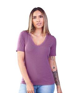 T-Shirt Modal Decote V Dente de Leão Roxo Spirit