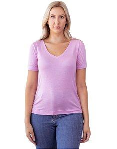T-Shirt Viscolinho Decote V Flor de Lis Lavanda
