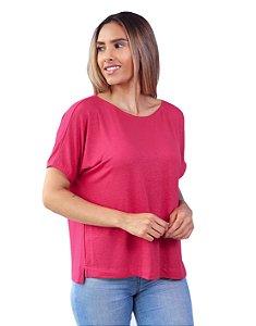 T-Shirt Tamanho Único Viscolinho Decote Canoa Amarílis Pink