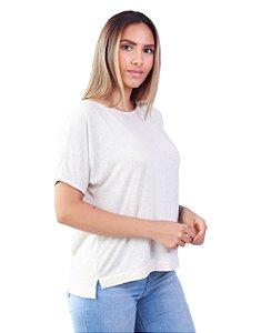 T-Shirt Tamanho Único Viscolinho Decote Canoa Amarílis Natural