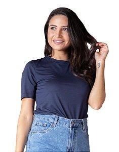 T-Shirt Modal Gola Careca Magnolia Azul Marinho