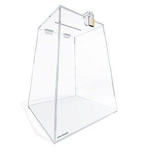 Urna de Acrílico Transparente Piramidal 30cm com Cadeado