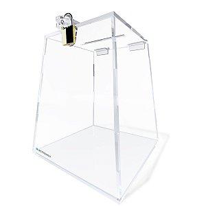 Urna de Acrílico Transparente Piramidal 20cm Com Cadeado