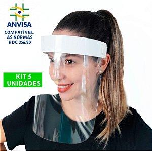 5 Máscaras PREMIUM Acabamento de  Acrílico - Modelo Face Shield