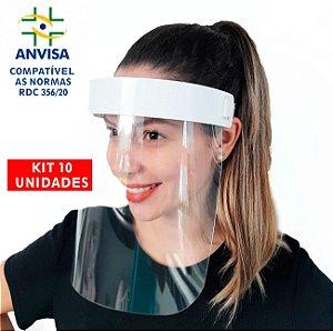 10 Máscaras PREMIUM Acabamento de  Acrílico - Modelo Face Shield