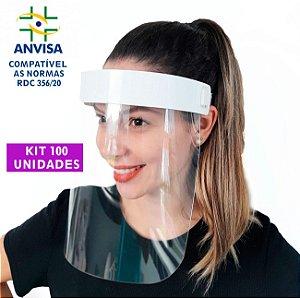 100 Máscaras PREMIUM Acabamento de  Acrílico - Modelo Face Shield
