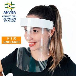 50 Máscaras PREMIUM Acabamento de  Acrílico - Modelo Face Shield