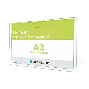 Display Acrílico para Parede Porta Folha A2 Horizontal 61x43cm