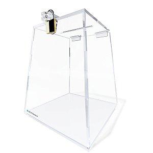 Urna Piramidal Em Acrílico 15cm Transparente Com Cadeado