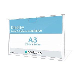 Display Em Acrílico Para Parede Porta Folha A3 Horizontal