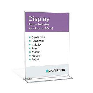 Display Em Acrílico Em Formato T Invertido Folha A4 Vertical