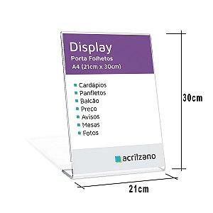 Display Em PETG Em Formato L Folha A4 Vertical