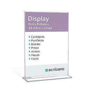 Display Em Acrílico Em Formato T Invertido Folha A5 Vertical