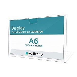 Display Em Acrílico Para Parede Porta Folha A6 Horizontral