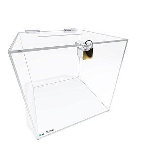 Urna Quadrada Transparente 25x25x25cm com Cadeado