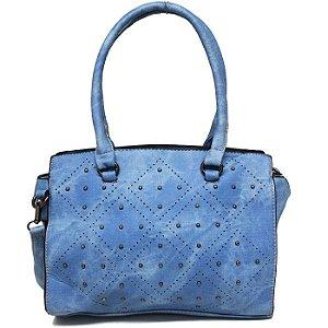 Bolsa Feminina Azul Claro com Detalhes em Esferas