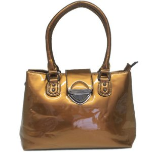 Bolsa Envernizada Bronze Lisa